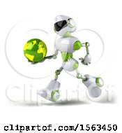3d Green And White Robot Holding A Globe On A White Background