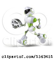 3d Green And White Robot Holding A Car On A White Background