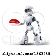 3d Blue And White Robot Holding A Steak On A White Background