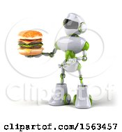 3d Green And White Robot Holding A Burger On A White Background