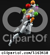 Clipart Of A 3d Feminine Robot Holding Produce On A Black Background Royalty Free Illustration