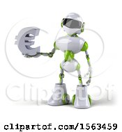 3d Green And White Robot Holding A Euro On A White Background
