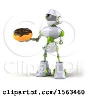 3d Green And White Robot Holding A Donut On A White Background