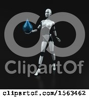 Clipart Of A 3d Feminine Robot Holding A Water Drop On A Black Background Royalty Free Illustration