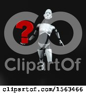 Clipart Of A 3d Feminine Robot Holding A Question Mark On A Black Background Royalty Free Illustration