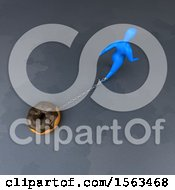 Clipart Of A 3d Man Chained To A Donut Royalty Free Illustration by Julos