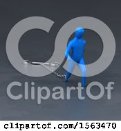 Clipart Of A 3d Man Chained To A Wrench Royalty Free Illustration by Julos