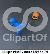 Clipart Of A 3d Man Chained To A Burger Royalty Free Illustration by Julos