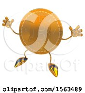 Clipart Of A Bitcoin Mascot Jumping On A White Background Royalty Free Illustration