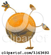 Clipart Of A Bitcoin Mascot Cartwheeling On A White Background Royalty Free Illustration by Julos