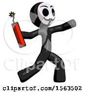 Black Little Anarchist Hacker Man Throwing Dynamite