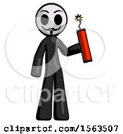 Black Little Anarchist Hacker Man Holding Dynamite With Fuse Lit