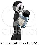 Black Little Anarchist Hacker Man Holding Glass Medicine Bottle