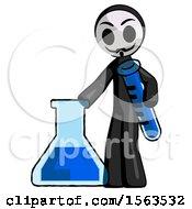 Black Little Anarchist Hacker Man Holding Test Tube Beside Beaker Or Flask