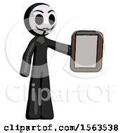 Black Little Anarchist Hacker Man Showing Clipboard To Viewer