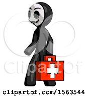 Black Little Anarchist Hacker Man Walking With Medical Aid Briefcase To Left