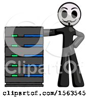 Black Little Anarchist Hacker Man With Server Rack Leaning Confidently Against It
