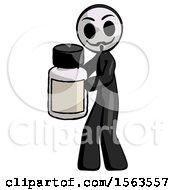 Black Little Anarchist Hacker Man Holding White Medicine Bottle