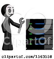 Black Little Anarchist Hacker Man Server Administrator Doing Repairs