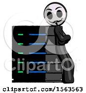 Black Little Anarchist Hacker Man Resting Against Server Rack Viewed At Angle
