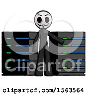 Black Little Anarchist Hacker Man With Server Racks In Front Of Two Networked Systems