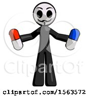 Black Little Anarchist Hacker Man Holding A Red Pill And Blue Pill