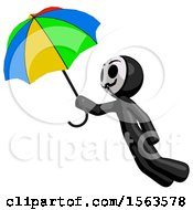 Black Little Anarchist Hacker Man Flying With Rainbow Colored Umbrella