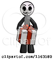 Black Little Anarchist Hacker Man Gifting Present With Large Bow Front View