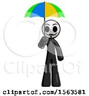 Black Little Anarchist Hacker Man Holding Umbrella Rainbow Colored