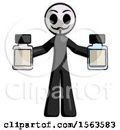 Black Little Anarchist Hacker Man Holding Two Medicine Bottles