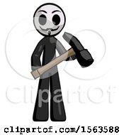Black Little Anarchist Hacker Man Holding Hammer Ready To Work