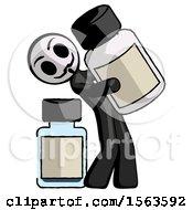 Black Little Anarchist Hacker Man Holding Large White Medicine Bottle With Bottle In Background