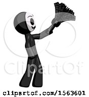 Black Little Anarchist Hacker Man Dusting With Feather Duster Upwards