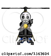 Black Little Anarchist Hacker Man Flying In Gyrocopter Front View