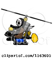 Black Little Anarchist Hacker Man Flying In Gyrocopter Front Side Angle Top View