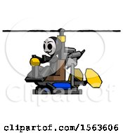 Black Little Anarchist Hacker Man Flying In Gyrocopter Front Side Angle View
