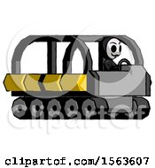 Black Little Anarchist Hacker Man Driving Amphibious Tracked Vehicle Side Angle View