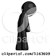 Black Little Anarchist Hacker Man Depressed With Head Down Back To Viewer Right
