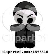 Black Little Anarchist Hacker Man Sitting With Head Down Facing Forward