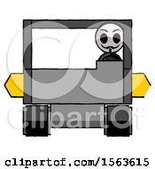 Black Little Anarchist Hacker Man Driving Amphibious Tracked Vehicle Front View