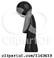 Black Little Anarchist Hacker Man Depressed With Head Down Back To Viewer Left