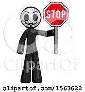 Black Little Anarchist Hacker Man Holding Stop Sign