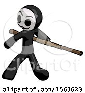 Black Little Anarchist Hacker Man Bo Staff Action Hero Kung Fu Pose