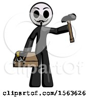 Black Little Anarchist Hacker Man Holding Tools And Toolchest Ready To Work