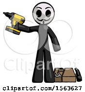 Black Little Anarchist Hacker Man Holding Drill Ready To Work Toolchest And Tools To Right
