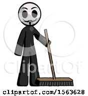 Black Little Anarchist Hacker Man Standing With Industrial Broom