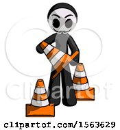 Black Little Anarchist Hacker Man Holding A Traffic Cone