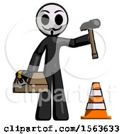 Black Little Anarchist Hacker Man Under Construction Concept Traffic Cone And Tools