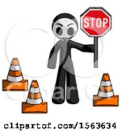 Black Little Anarchist Hacker Man Holding Stop Sign By Traffic Cones Under Construction Concept