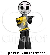 Black Little Anarchist Hacker Man Holding Large Drill